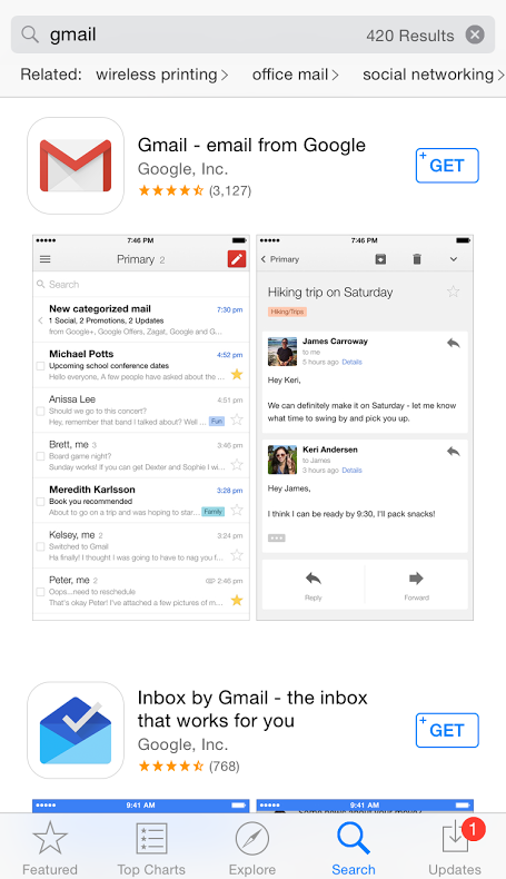 "This should appear once you search ""gmail"" in the App Store"