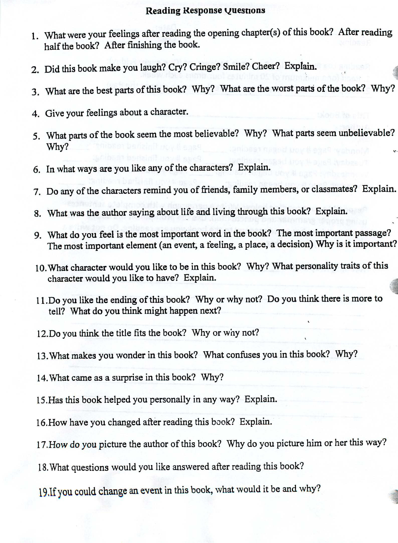 Worksheet Reading Questions pullen caran parallel curriculum english reference reading log paragraph questions